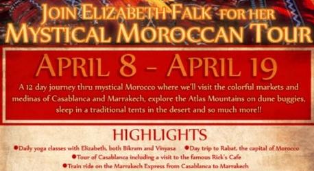 Join Elizabeth Falk for her mystical moroccan tour